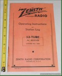 Zenith Radio 12-Tube Operating Instructions/Station Log (1937)