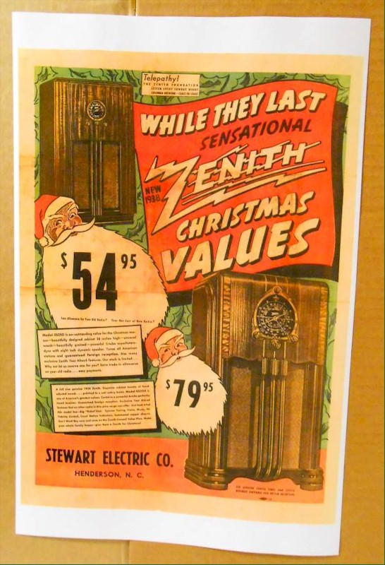 Zenith 11x17 Poster for 6-S-254, 5-S-250 (1938)