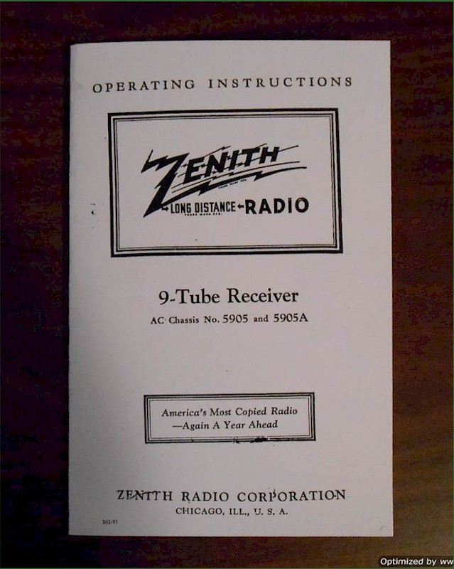 Zenith Chassis 5905 Operating Instructions (1938)