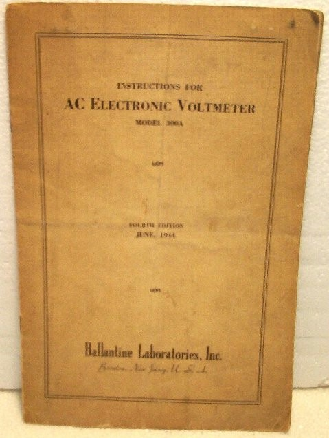 Ballantine 300A Voltmeter Manual