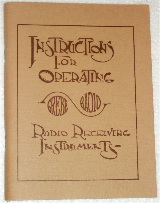 Manual: Instructions For Operating Grebe Radio