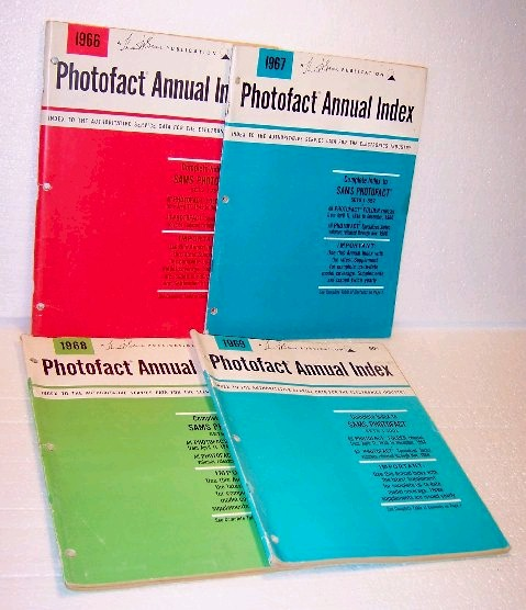 Photofact Annual Index Issues 1966 - 1967 - 1968 - 1969
