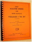 "Rider 1947 Master Index to ""Perpetual Troubleshooter Manuals"""