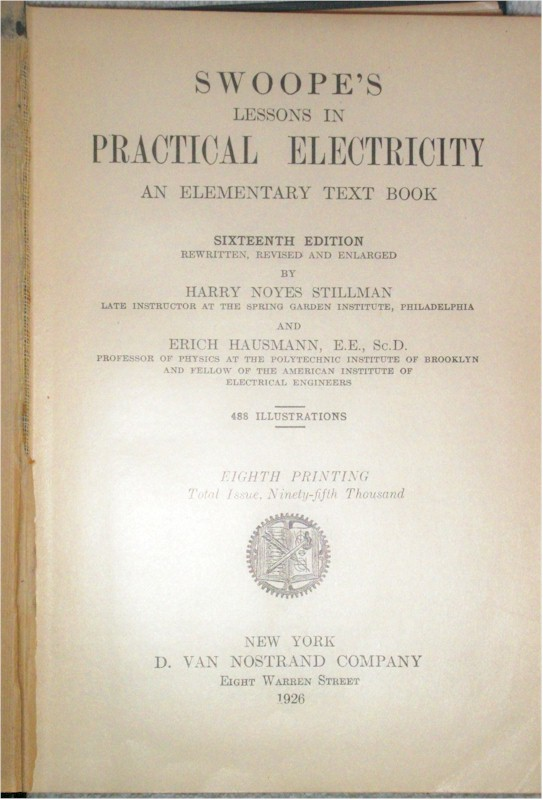 Book: Swoops Lessons In Practical Electricity