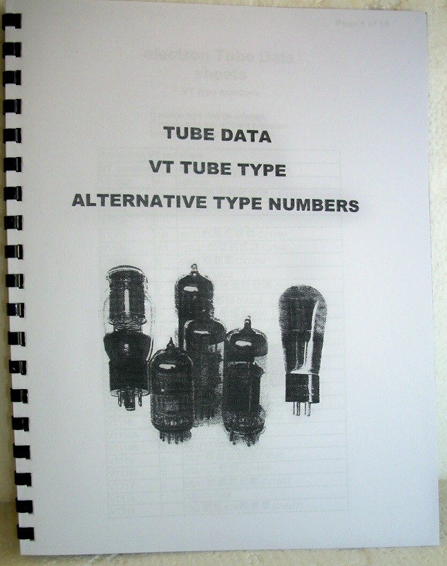 Tube Data VT Type with Standard Conversion