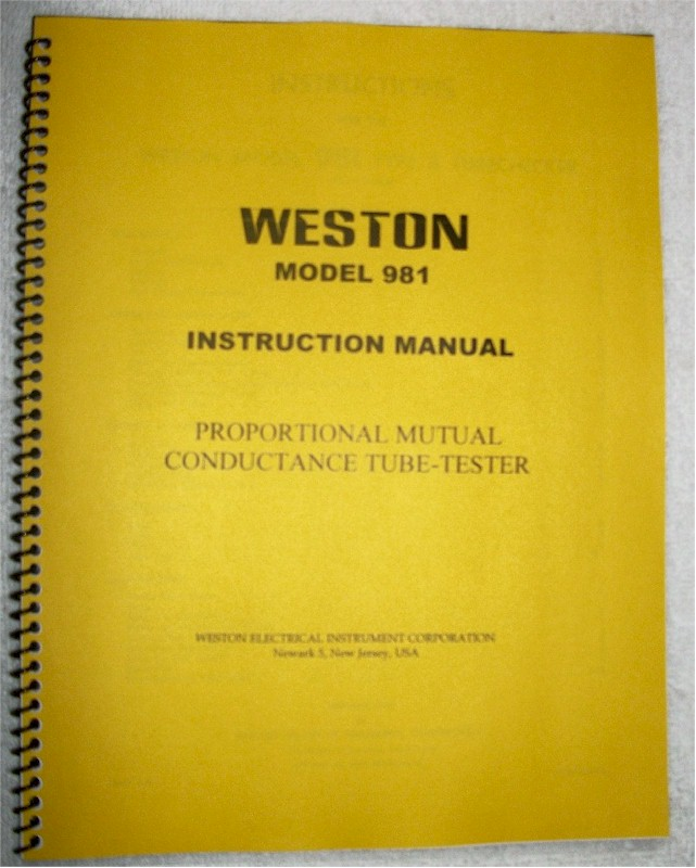 Weston 981 Tube Tester Manual