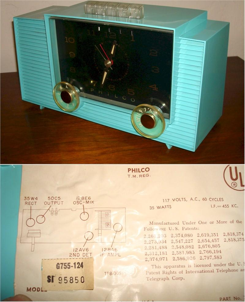 Philco G755-124 Clock Radio (1959)