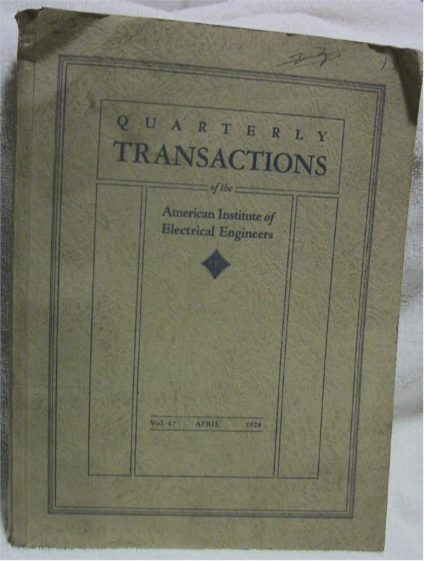 Quartertly Transactions of the American Inst. of Electrical Engineers