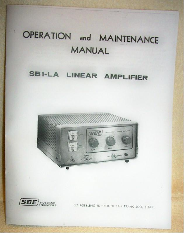 SBE SB1-LA Operating & Maintenance Manual